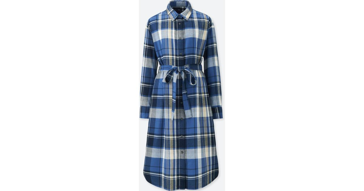 Lyst - Uniqlo Women Flannel Long-sleeve Shirt Dress in Blue 8bd199fcb