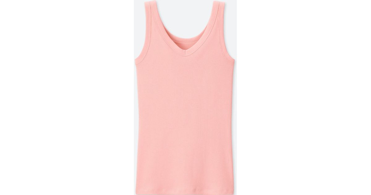 e7a23829a1fa3 Uniqlo Supima Cotton Ribbed Tank Top in Pink - Lyst