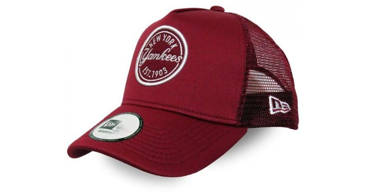 dfde30a042a Lyst - Ktz Ny Yankees Emblem A Frame Trucker Cap in Red for Men
