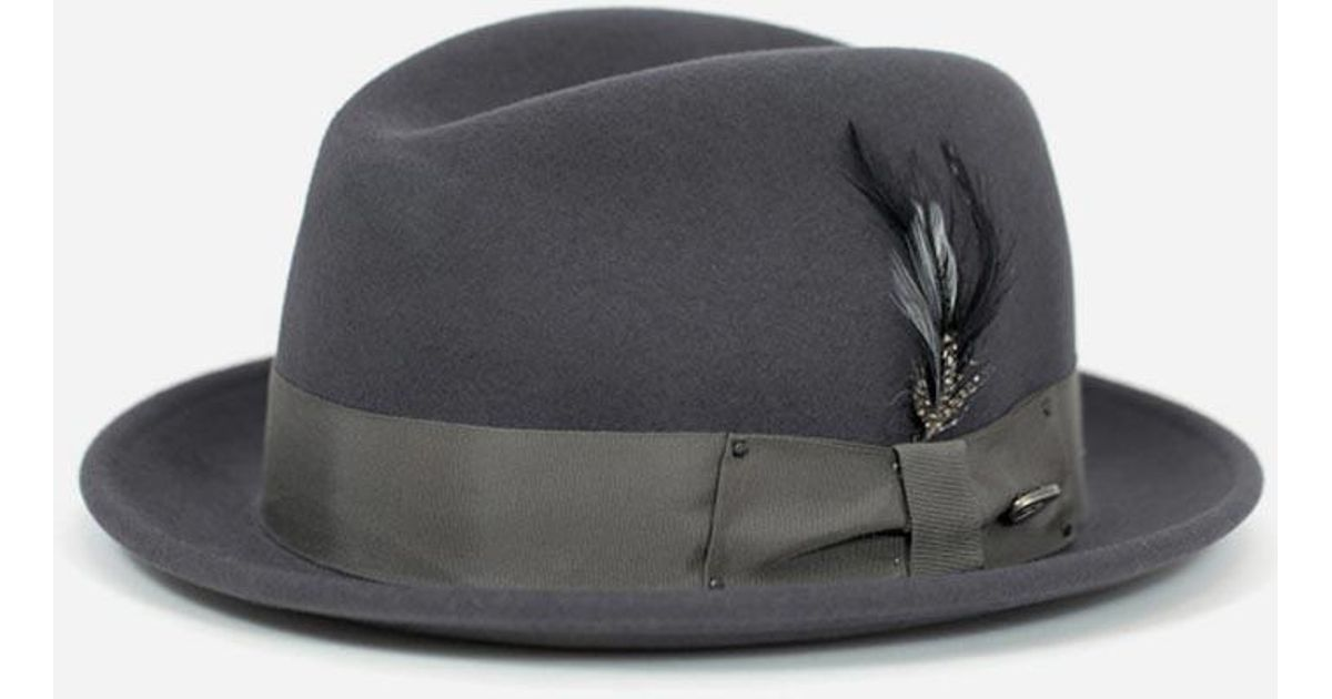 b0caa928311ac Bailey of Hollywood Bailey Tino Felt Crushable Trilby Hat in Gray for Men -  Lyst