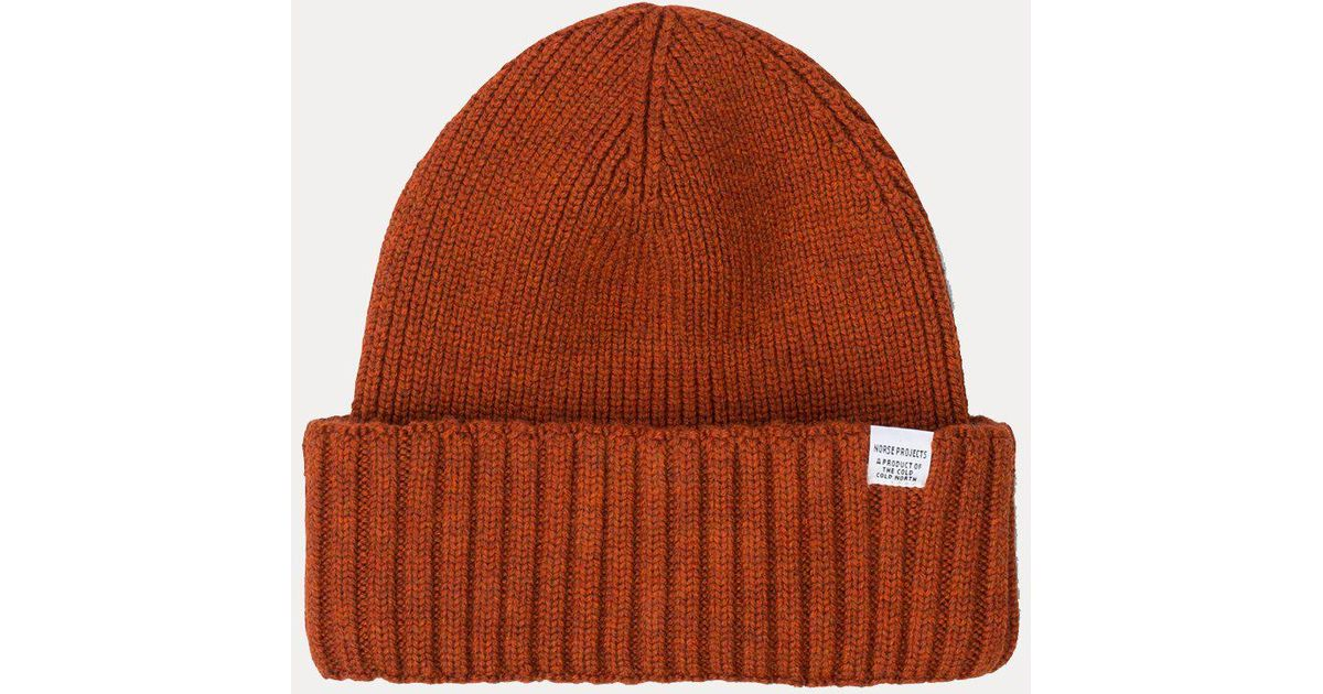 8e7802370 Norse Projects - Orange Chunky Rib Beanie Hat for Men - Lyst