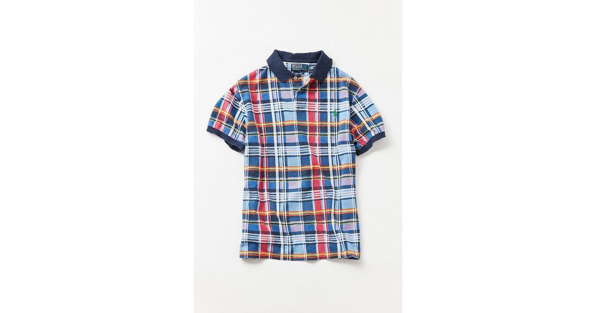 1054d80c Urban Outfitters Vintage Polo Ralph Lauren '90s Plaid Knit Polo Shirt in  Blue for Men - Lyst