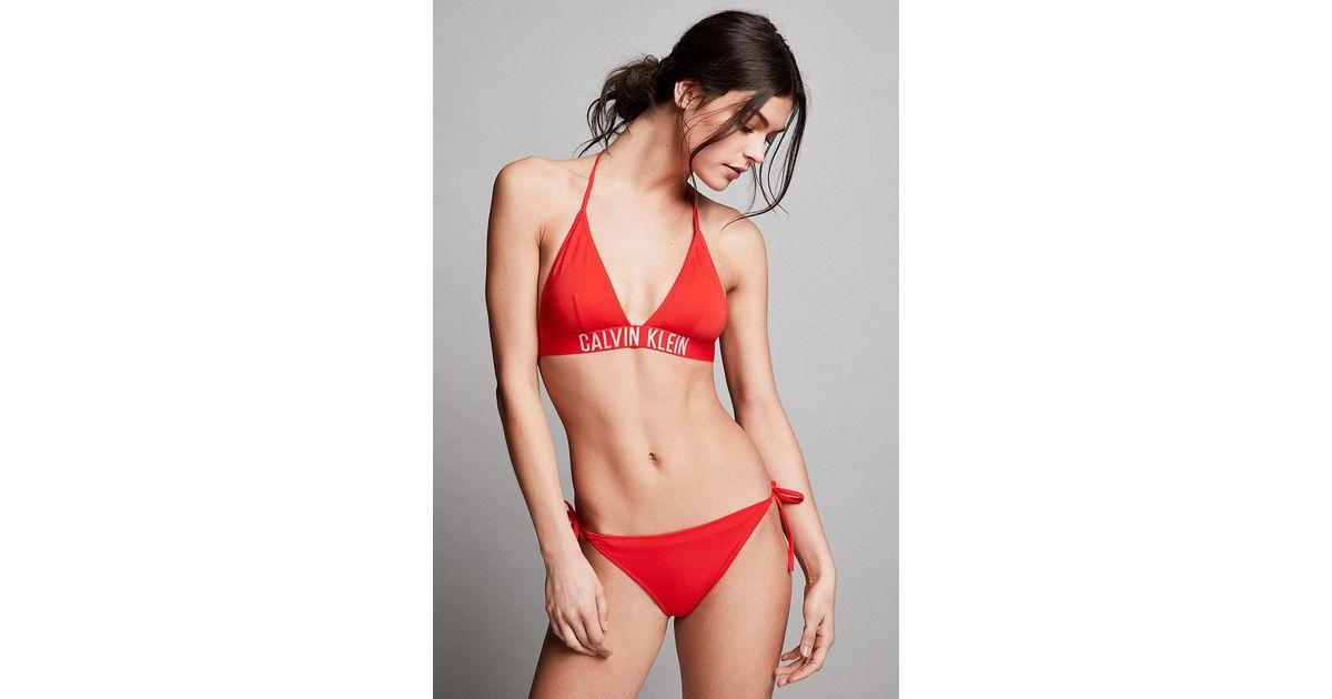 Calvin Klein Fiery Red Cheeky Tie-side Bikini Bottoms in Red - Lyst 34a6712e99b