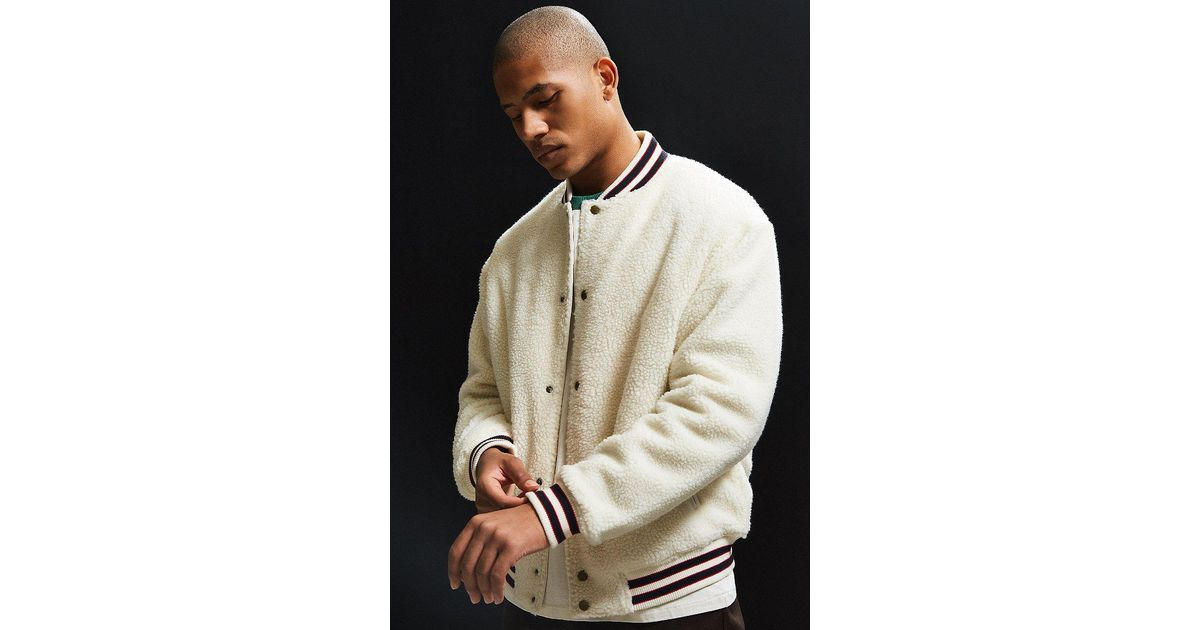 Lyst Urban Outfitters Uo Sherpa Varsity Jacket In Natural For Men