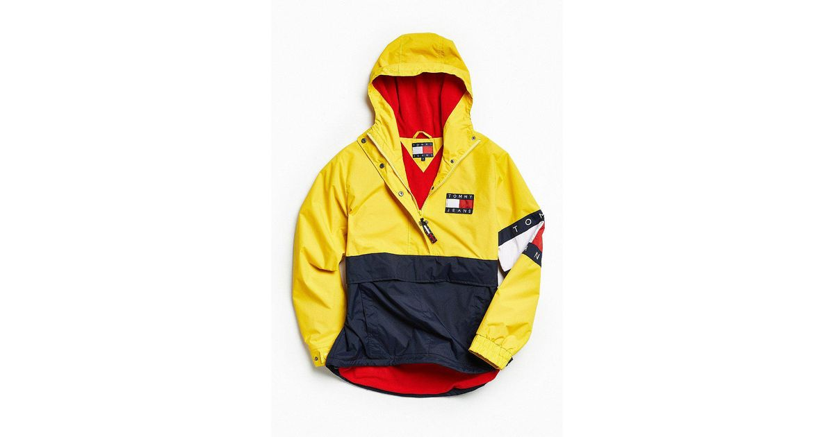 f57049561 Tommy Hilfiger Tommy Hilfiger Colorblocked Pullover Windbreaker Jacket in  Yellow for Men - Lyst