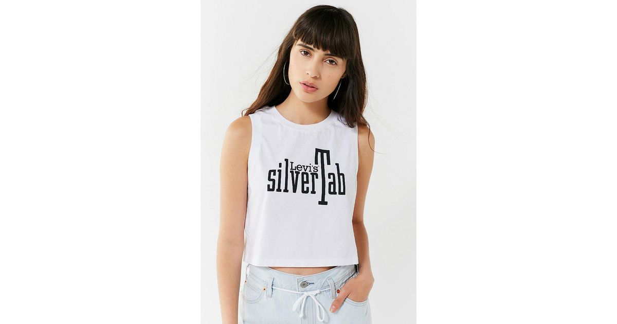 aefda6287f0 Lyst - Levi's Levi's Silvertab Cropped Tank Top in White
