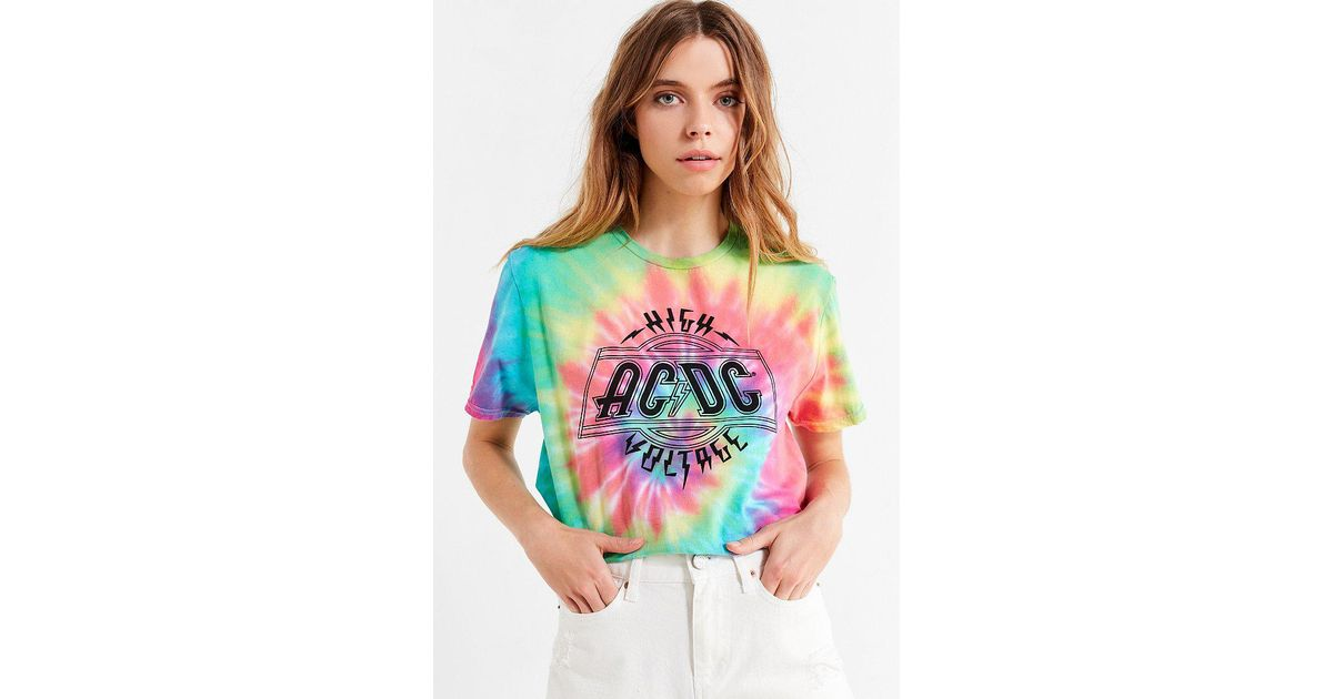 92263c3e1 Urban Outfitters Tie-dye Acdc Tee in Blue - Lyst