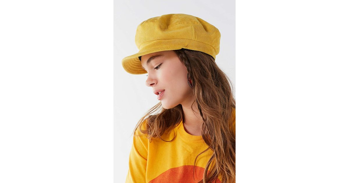 9e0cb35cd8454 Brixton Fiddler Unstructured Corduroy Fisherman Hat in Yellow - Lyst