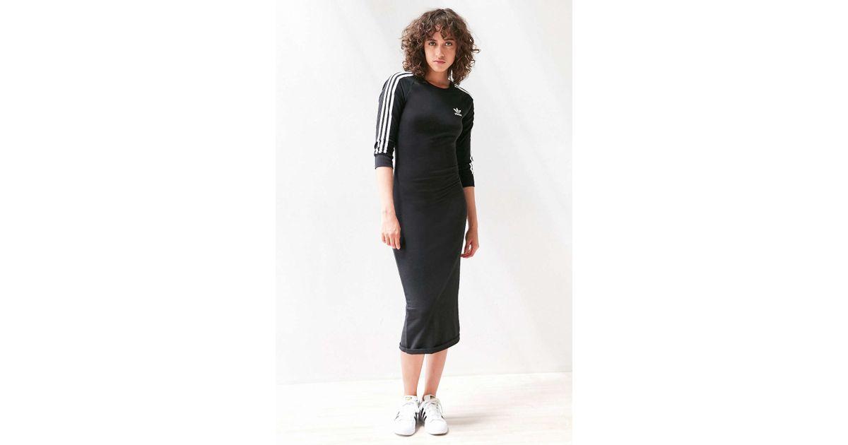 Adidas Originals Originals 3 Stripe Midi Dress In Black Lyst