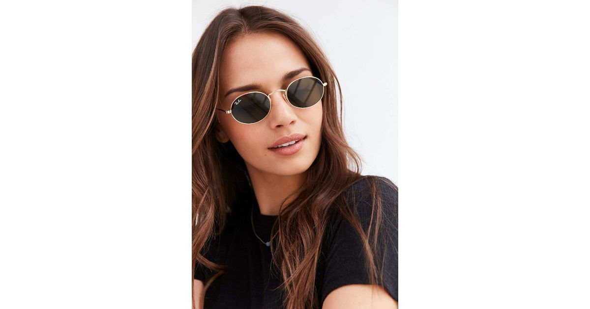 19d1d8f90b3 Lyst - Ray-Ban Icon Oval Flat Lens Sunglasses in Metallic