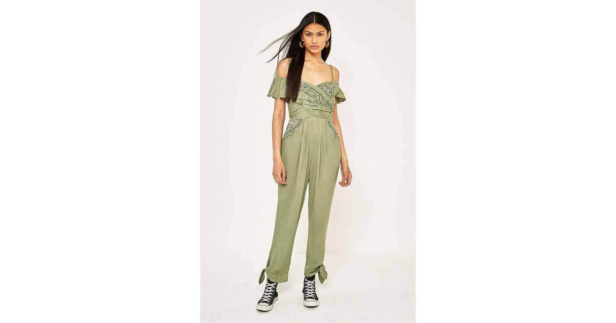 53d201d8c8a9 Free People In The Moment Cold Shoulder Jumpsuit - Womens M in Green - Lyst
