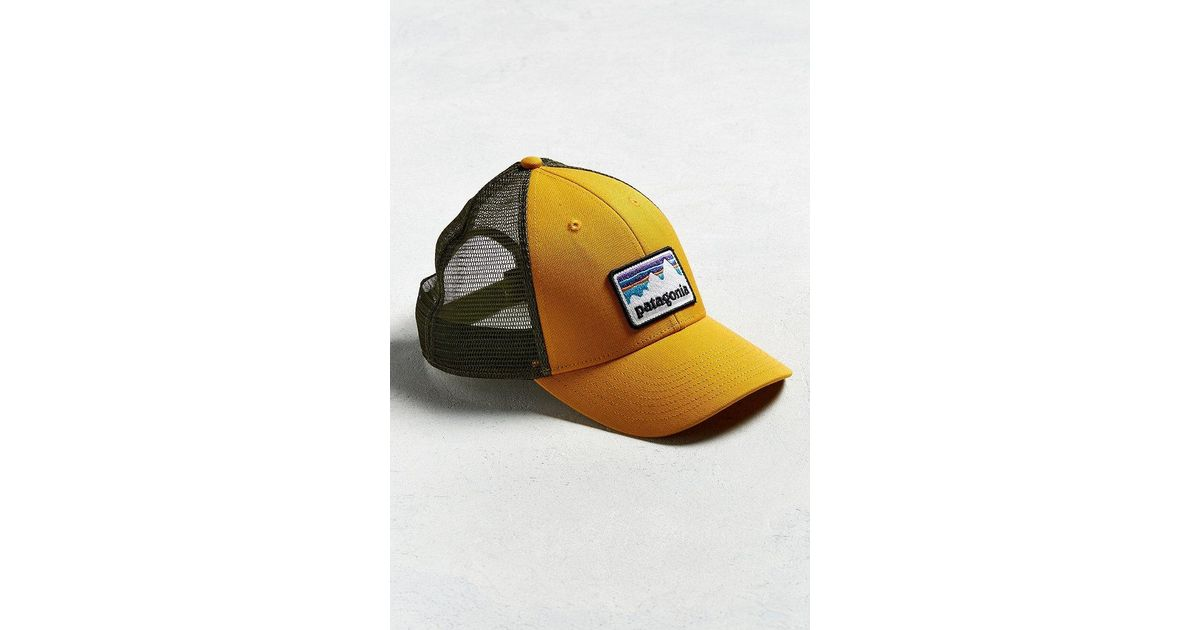 6d88a69622476 Patagonia Shop Sticker Patch Trucker Hat in Yellow for Men - Lyst