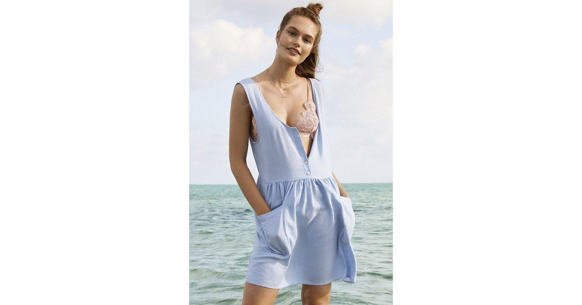 a9b093044c5 Lyst - Cooperative Oversized Linen Babydoll Dress in Blue