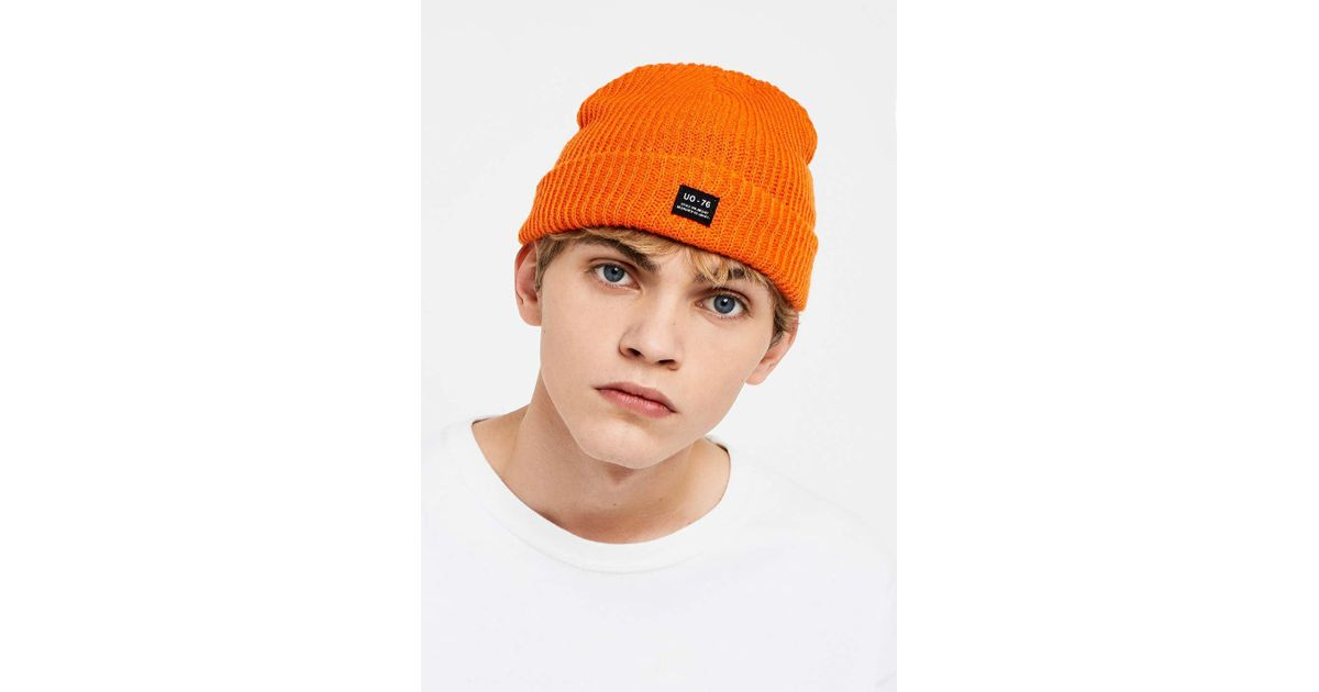f0d0acdb313 Urban Outfitters Uo Orange Mini Roll Beanie - Mens All in Orange for Men -  Lyst