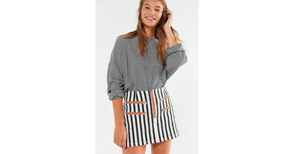 ea4dbdd589 BDG Striped Contrast Zipper Mini Skirt in Black - Lyst
