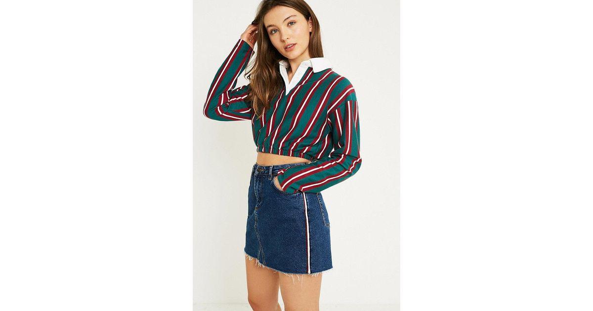 daa6d7ecbd BDG Side Stripe Vintage Blue Notched Denim Mini Skirt in Blue - Lyst