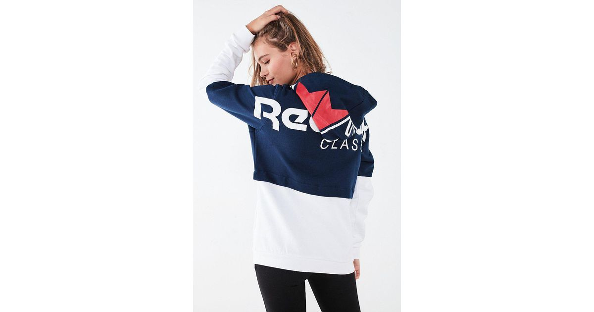 41ddf3b669d22 Reebok Classic French Terry Colorblock Hoodie Sweatshirt in Blue - Lyst