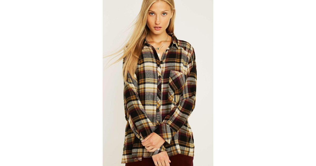 2c65a6c8 Urban Outfitters Uo Brendan Beige Drapey Flannel Button-through Shirt -  Womens Xs in Brown - Lyst