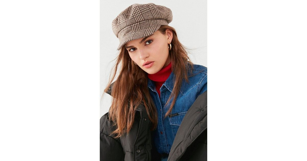 c4d360476e9 Urban Outfitters Plaid Baker Boy Hat in Brown - Lyst