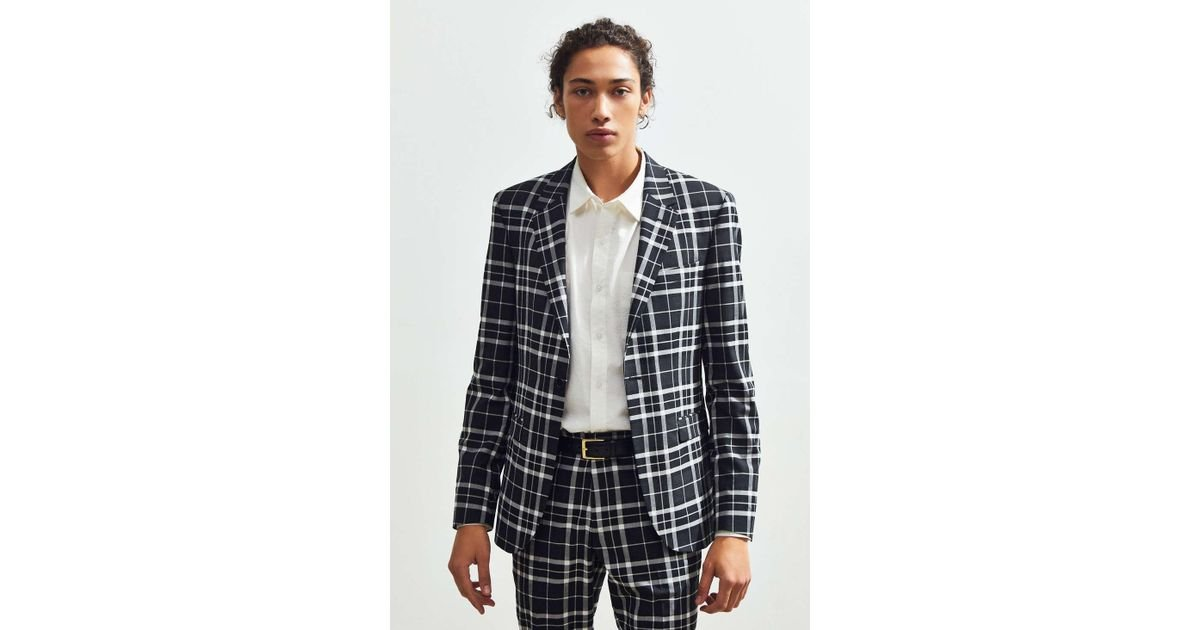 0c49a23a8e57 Urban Outfitters Uo Plaid Skinny Fit Single Breasted Suit Blazer in Black  for Men - Lyst