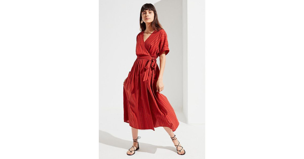 b7b38be682 Lyst - Urban Outfitters Uo Gabrielle Linen Midi Wrap Dress in Red