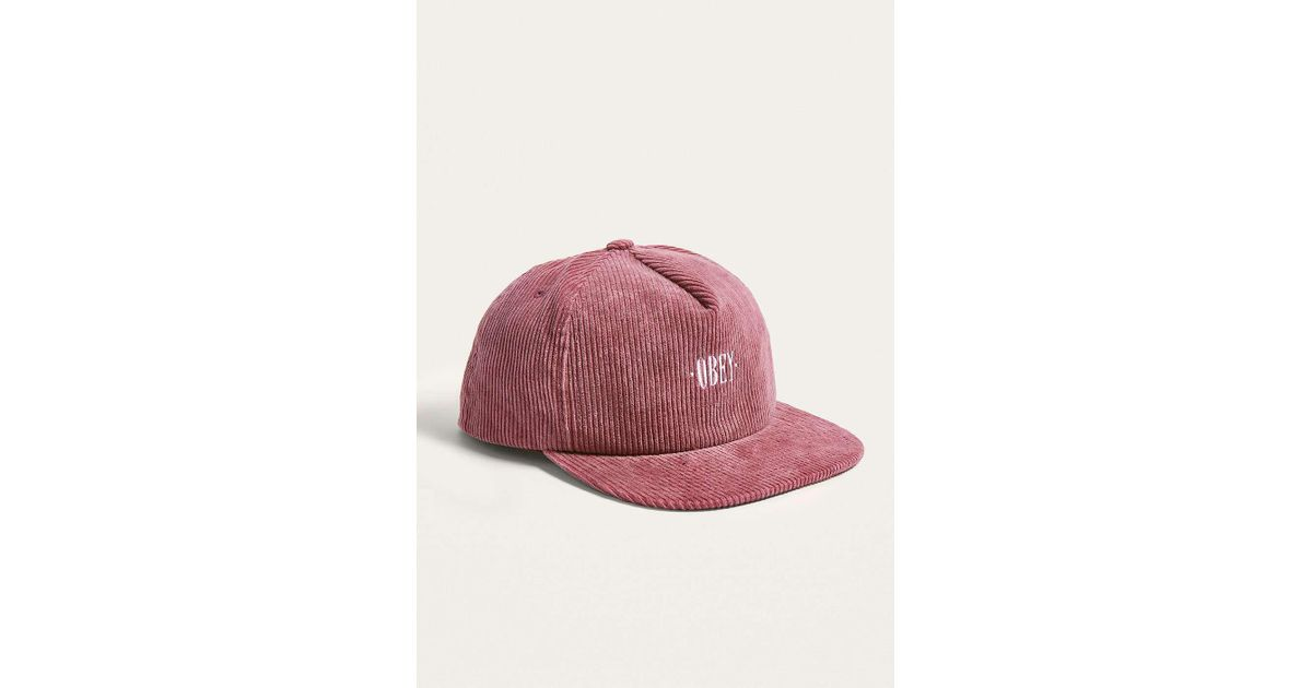 d72fa4b2cdd Obey Jumbo Cord Pink Snapback Cap - Mens All in Pink for Men - Lyst