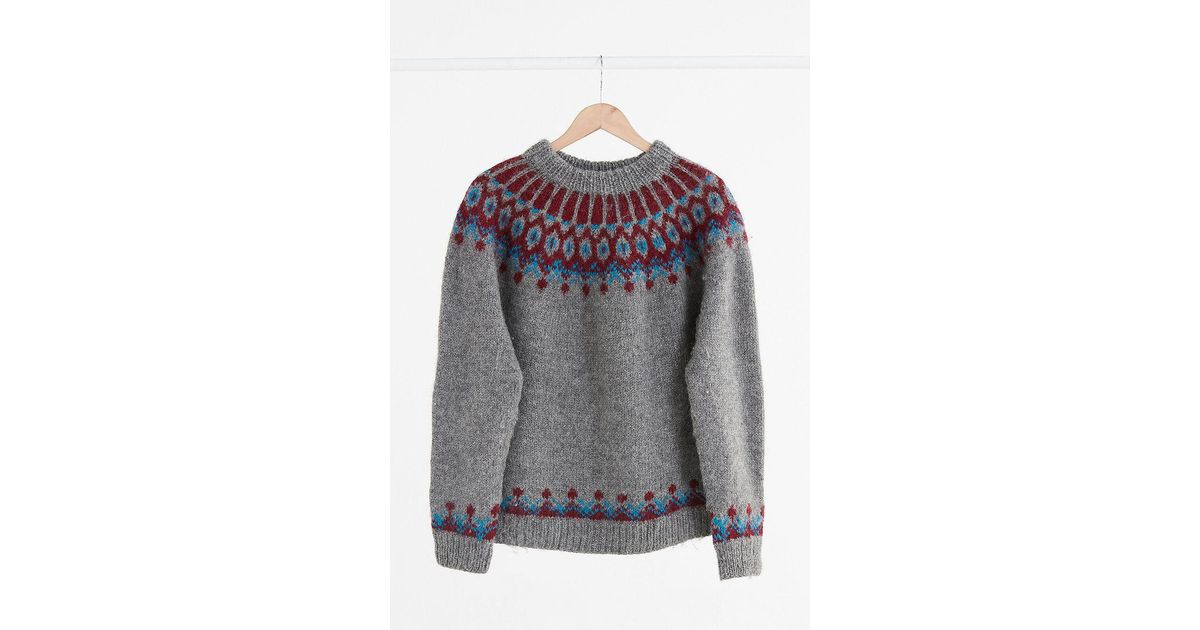 Lyst - Urban outfitters Vintage Charcoal Grey Fair Isle Ski ...
