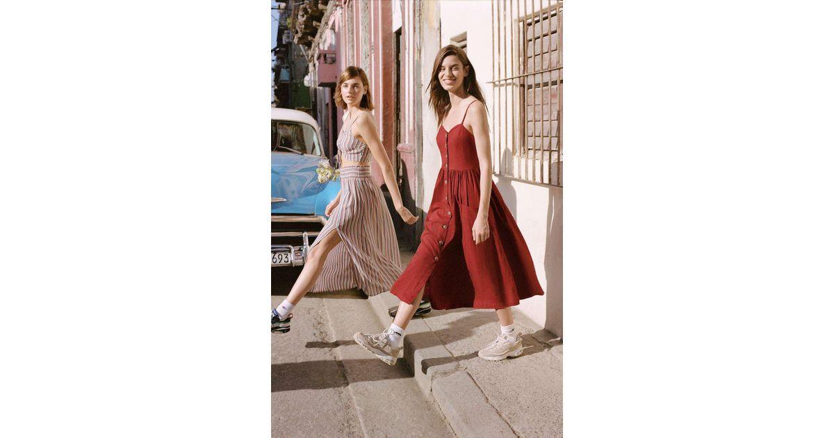 2e4991fdf3 Urban Outfitters Uo Emilia Rust Button-through Midi Dress - Womens S in  Brown - Lyst