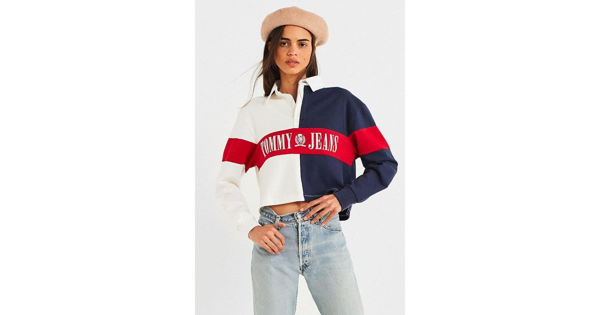 fac81024 Tommy Hilfiger Tommy Jeans '90s Cropped Rugby Shirt - Lyst