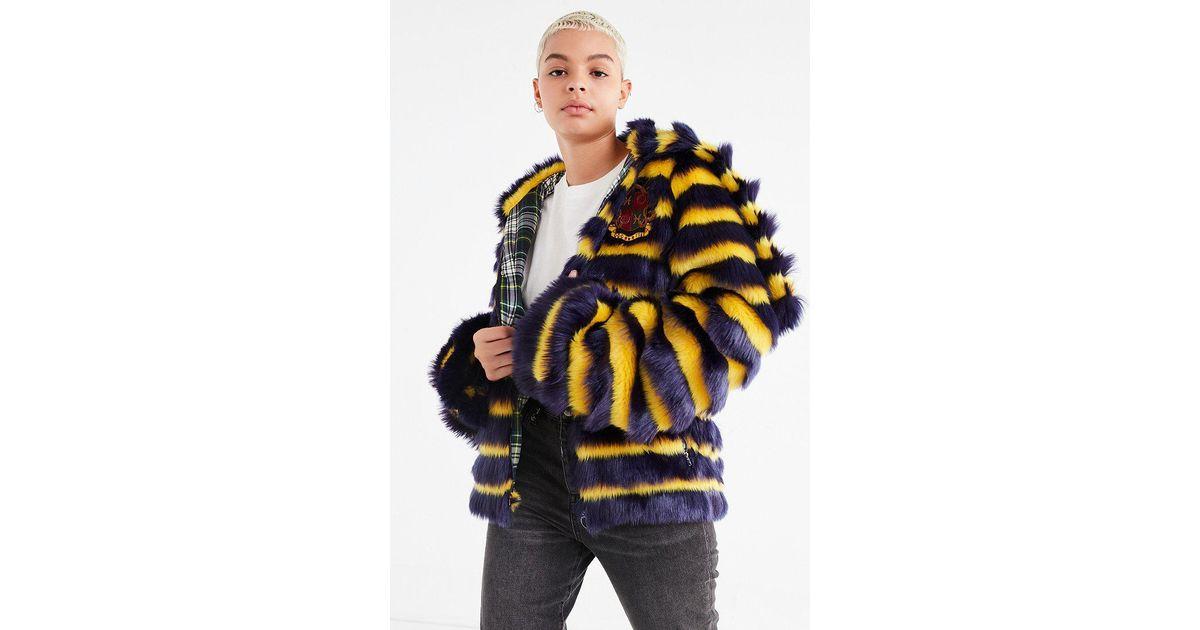 11734a20ae09 Lyst - PUMA Puma Fenty By Rihanna Faux Fur Striped Jacket in Black
