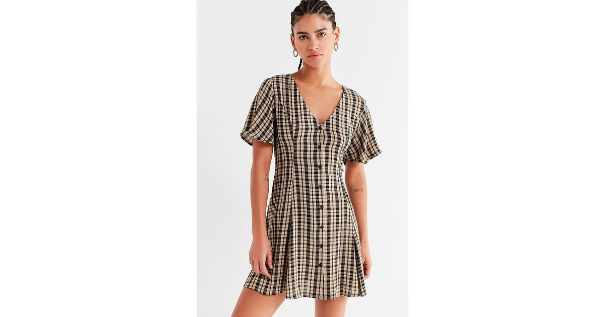 ad0d8e09f9cf Urban Outfitters Uo Plaid Button-down Lace-up Mini Dress in Black - Lyst