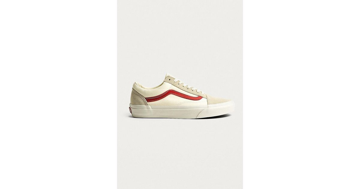 a61a19db0f601f Vans Old Skool White And Red Trainers in White for Men - Lyst