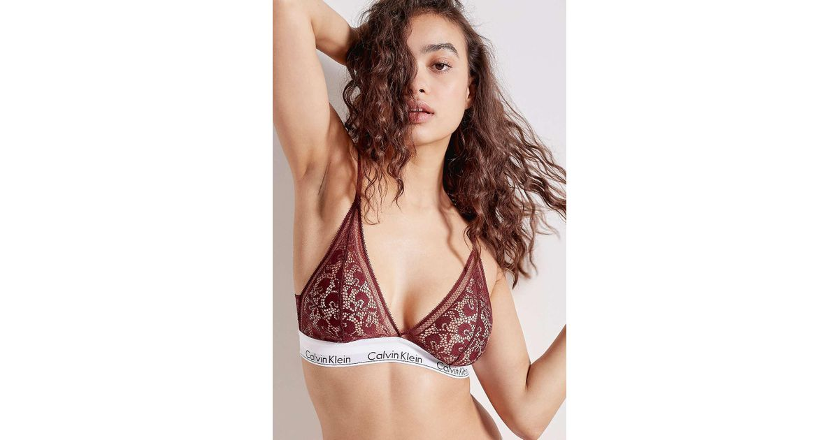 6fea1cf0ae Calvin Klein Burgundy Lace Triangle Bralette - Womens Xs in Red - Lyst