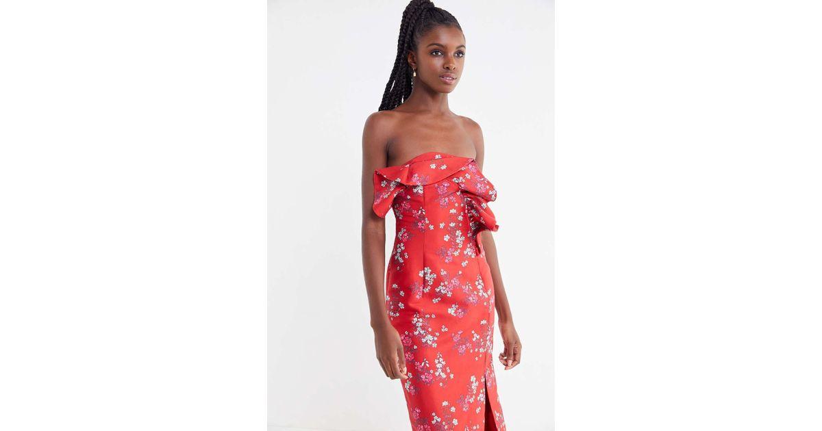 f560ff379f5 Lyst - Keepsake Heart + Soul Floral Strapless Midi Dress in Red - Save 27%