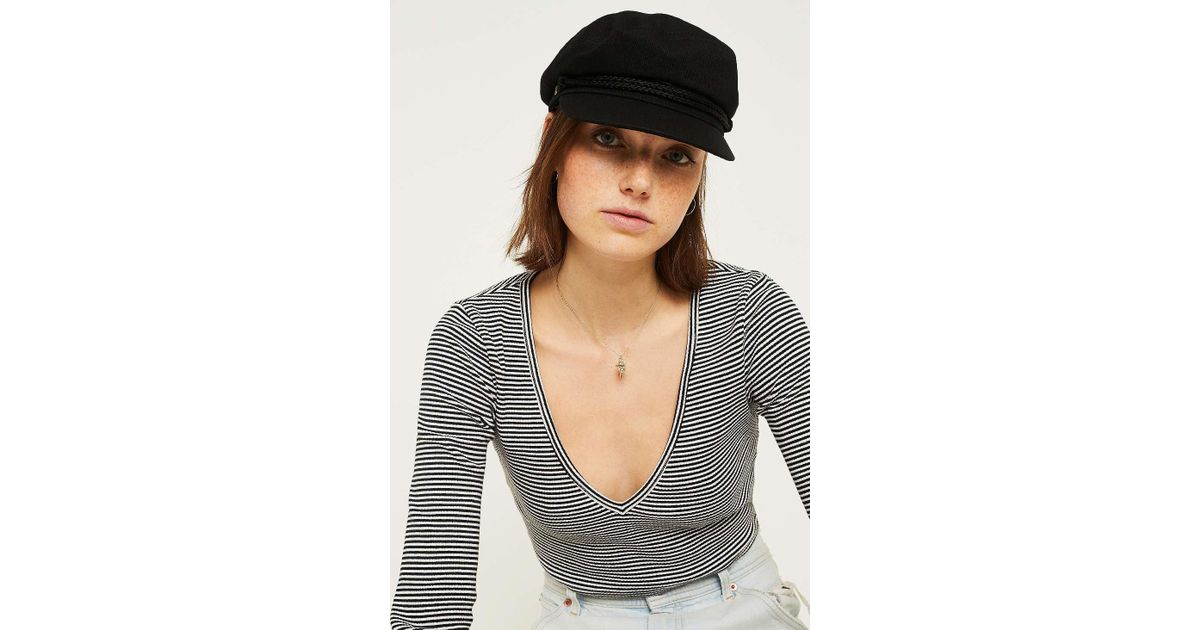 03e38992d33de Brixton Fiddler Leather Baker Boy Hat - Womens S in Black - Lyst