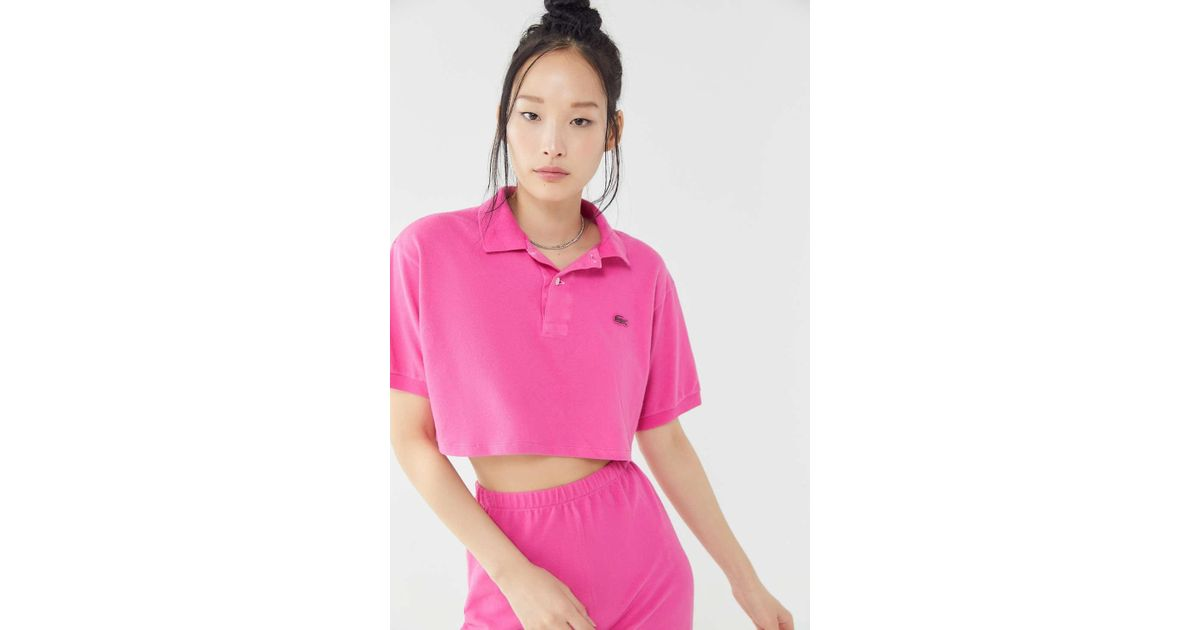 8c727df4e8c Urban Renewal Vintage Cropped Polo Shirt in Pink - Lyst