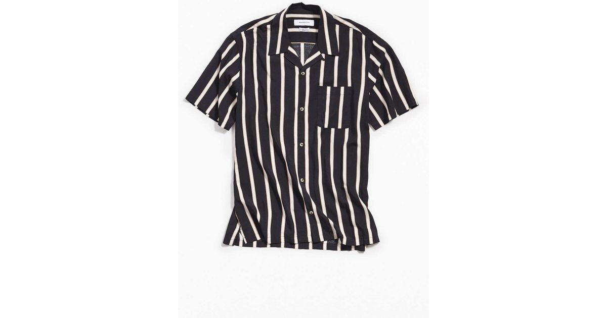 a3f42b70c Urban Outfitters Uo Sport Striped Rayon Short Sleeve Button-down Shirt in  Black for Men - Lyst
