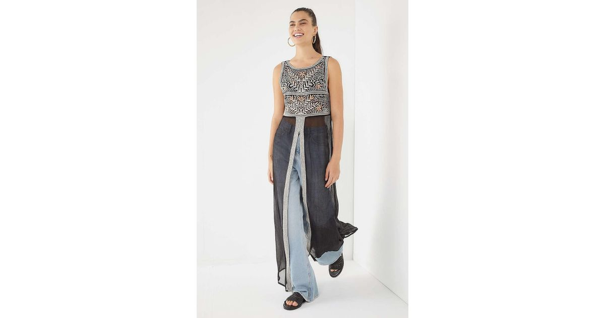 b4ee2b354b Urban Outfitters Uo Milla Embroidered Sheer Maxi Top - Lyst