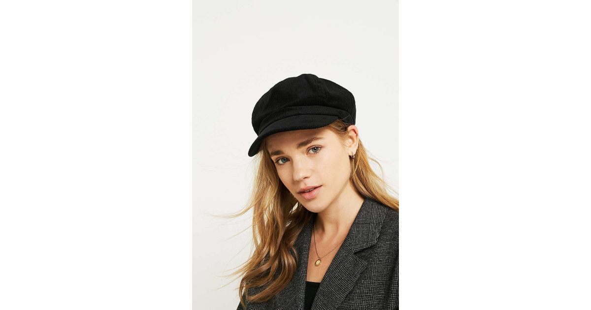 cac87ff7ec8 Urban Outfitters Corduroy Baker Boy Cap - Womens All in Black - Lyst