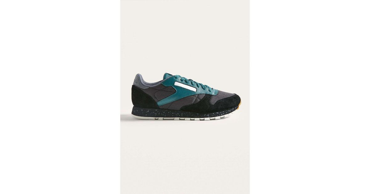 889d554114e885 Reebok Classic Leather Sm Black And Teal Trainers - Mens Uk 12 in Black for  Men - Lyst