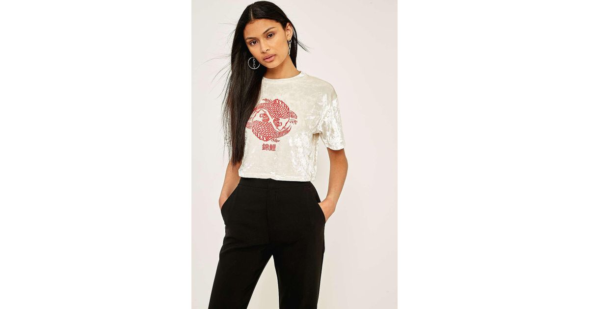 9d2026e4 Urban Outfitters Urban Outfitters Crushed Velvet Graphic T-shirt - Womens M  in Natural - Lyst