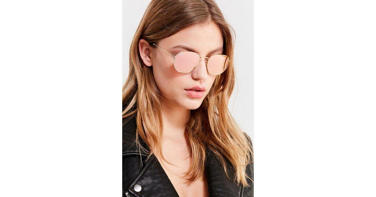 1b4f6c668e5 Lyst - Ray-Ban Ray-ban Hexagonal Flat Lens Gold Sunglasses in Metallic