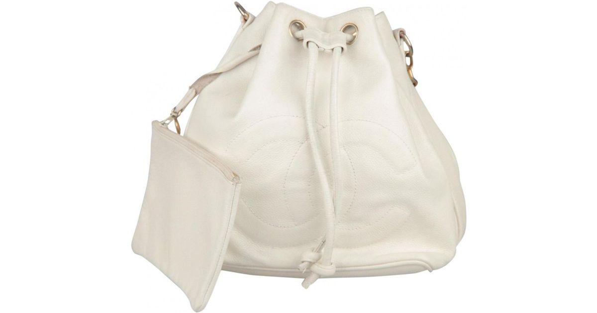 7793fbc4505b Lyst - Chanel Vintage White Leather Handbag in White