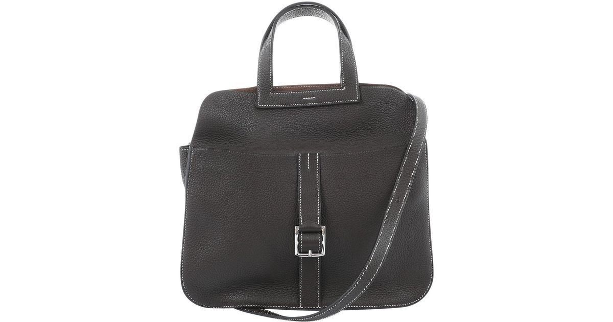 fa1a1e26aba7 Lyst - Hermès Halzan Leather Handbag in Brown