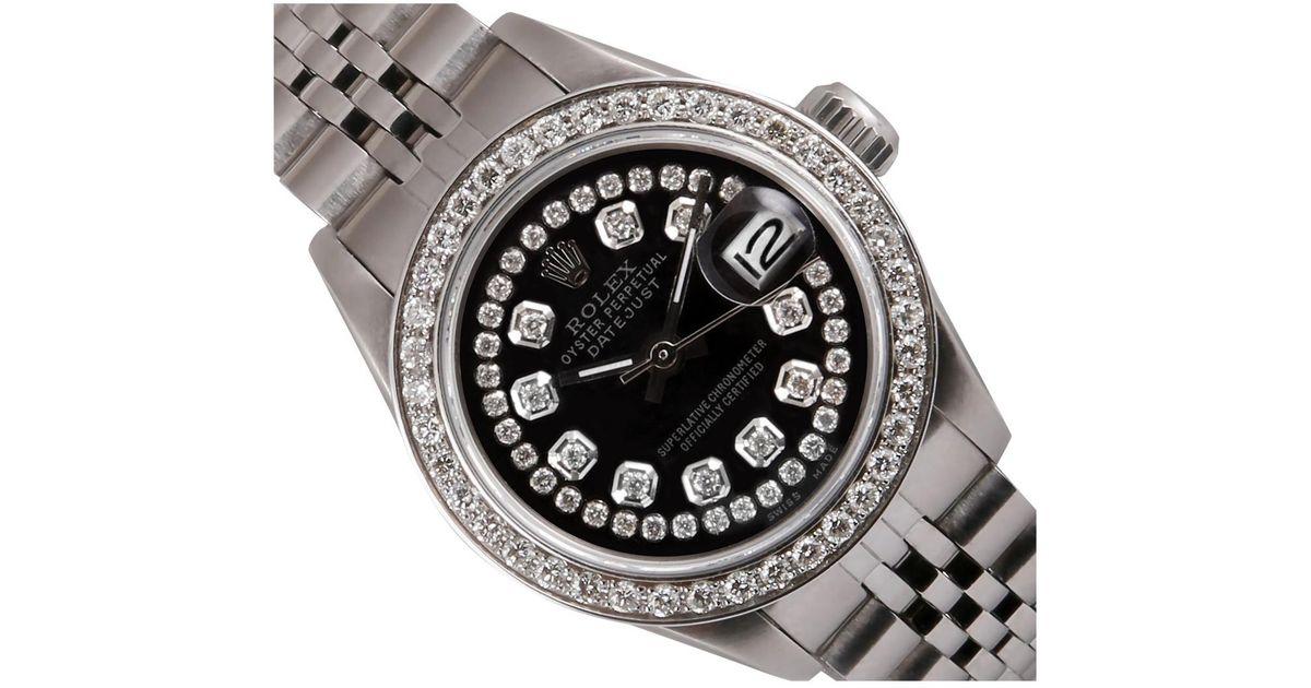 Rolex Vintage Lady Datejust 26mm Black Steel Watches Lyst