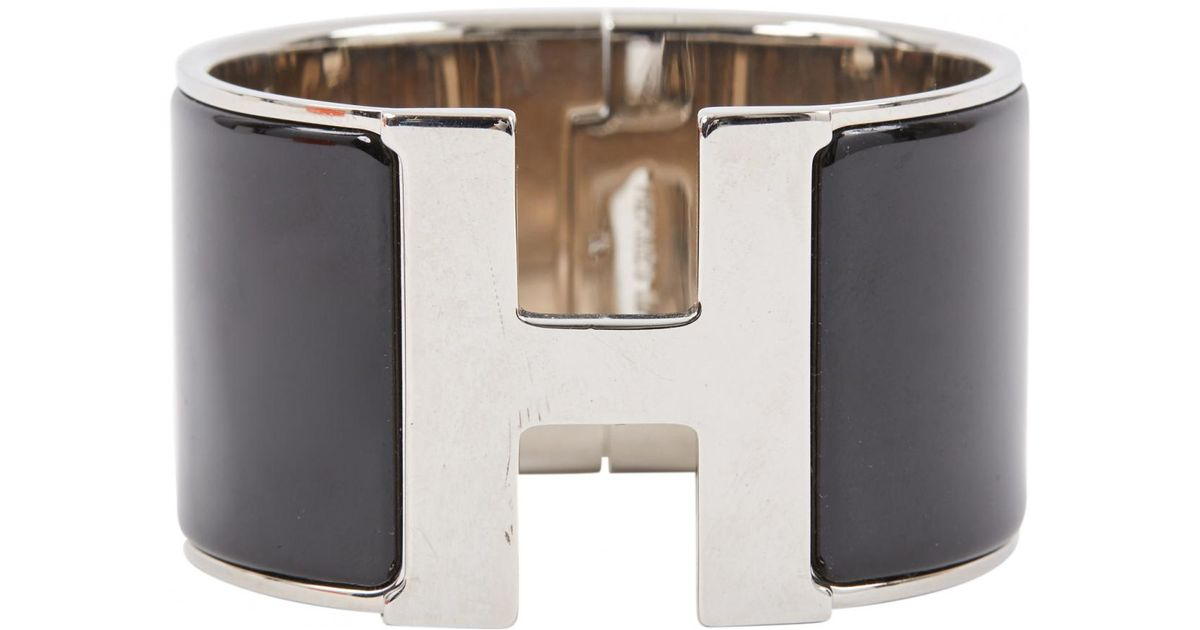 53ef050f62b8 ... hermes jewelry 7cfc1 f6613 buy lyst hermès pre owned clic h bracelet in  metallic a3333 b3be8 ...