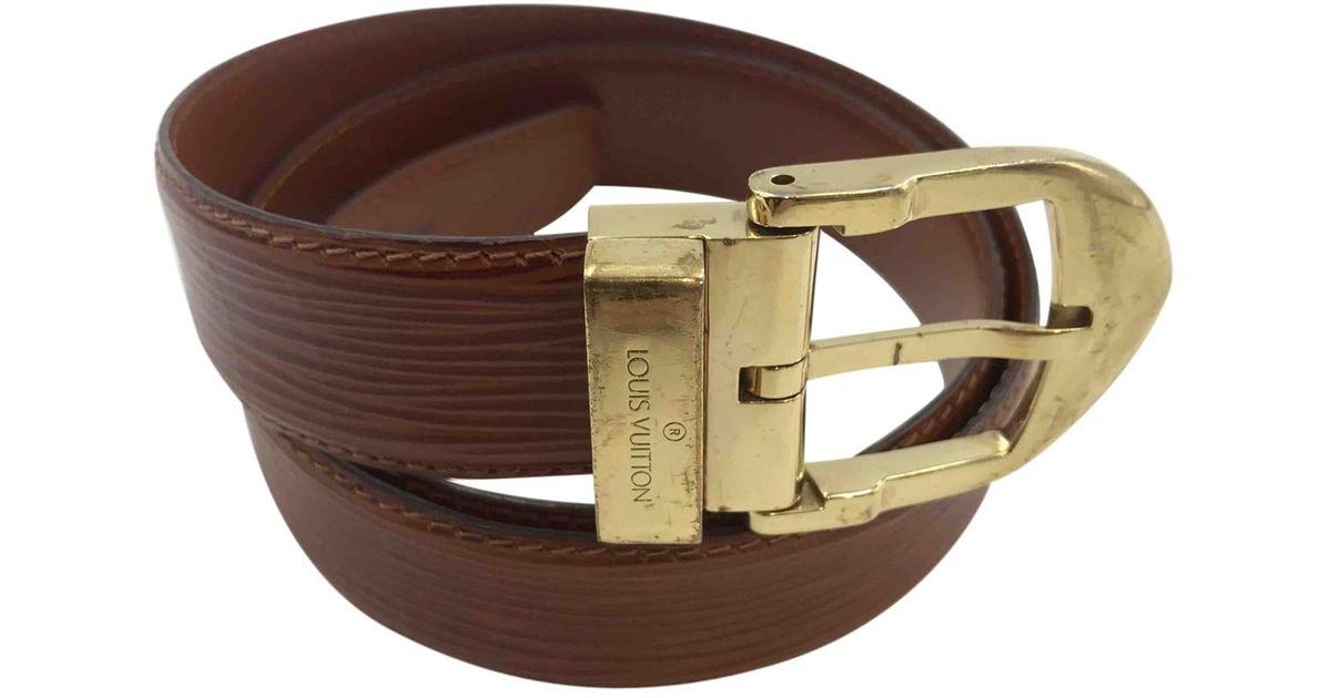 da5af0bc6bf5 Lyst - Louis Vuitton Leather Belt in Brown