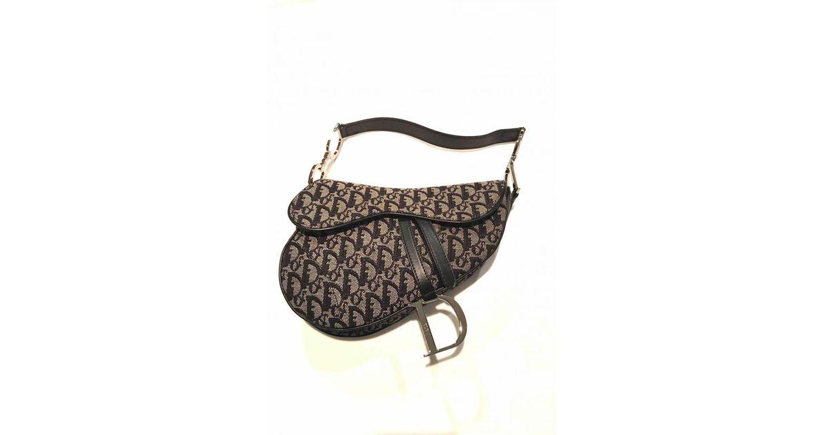 0449ba326f Lyst - Sac à main Saddle en toile Dior en coloris Noir