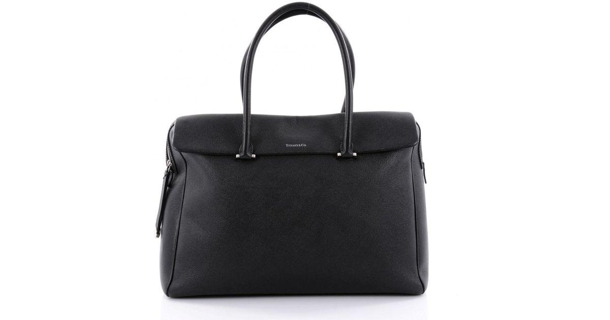 a24d6da8b Tiffany & Co. Black Leather Handbag in Black - Lyst