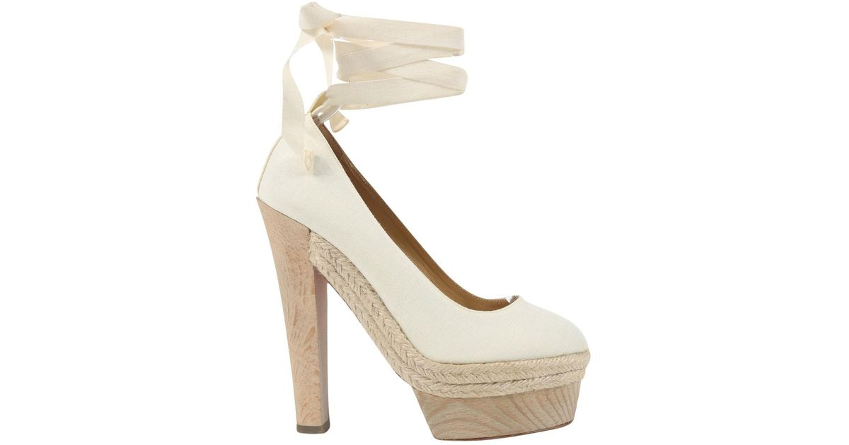 12c55b55dfd4 Christian Louboutin Pre-owned Cloth Heels in White - Lyst